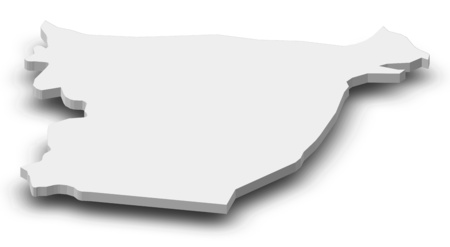 Map of Ida-Viru, a province of Estonia, as a gray piece with shadow.