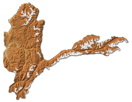 Relief map of Badakhshan, a province of Afghanistan, with shaded relief. Stock Photo