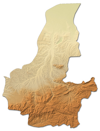 Relief map of Faryab, a province of Afghanistan, with shaded relief. Stock Photo