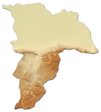 Relief map of Balkh, a province of Afghanistan, with shaded relief.