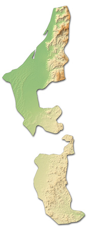 Relief map of Ras al-Khaimah, a province of United Arab Emirates, with shaded relief.