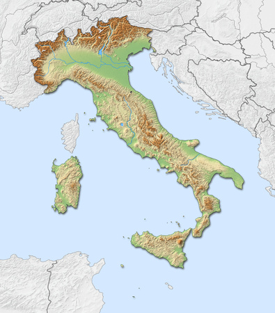 Relief map of Italy with shaded relief, nearby countries are in black an white.