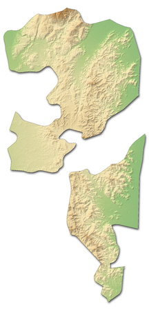 southwestern asia: Relief map of Fujairah, a province of United Arab Emirates, with shaded relief.