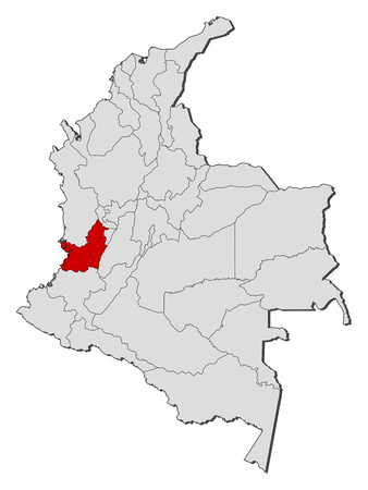 Map of Colombia with the provinces, Valle del Cauca is highlighted.