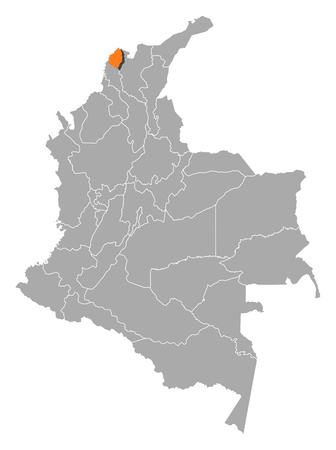 Map of Colombia with the provinces, Atlantico is highlighted by orange. Illustration