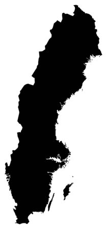 sverige: Map of Sweden in black. Illustration