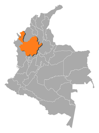 Map of Colombia with the provinces, Antioquia is highlighted by orange.