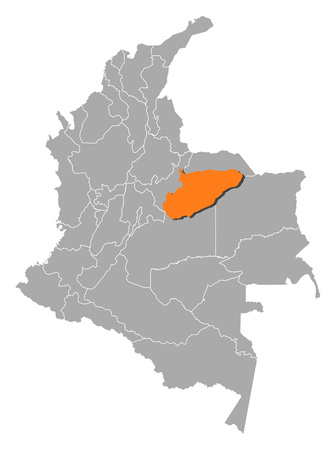 americas: Map of Colombia with the provinces, Casanare is highlighted by orange. Illustration