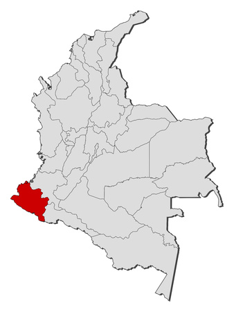 Map of Colombia with the provinces, Narino is highlighted.
