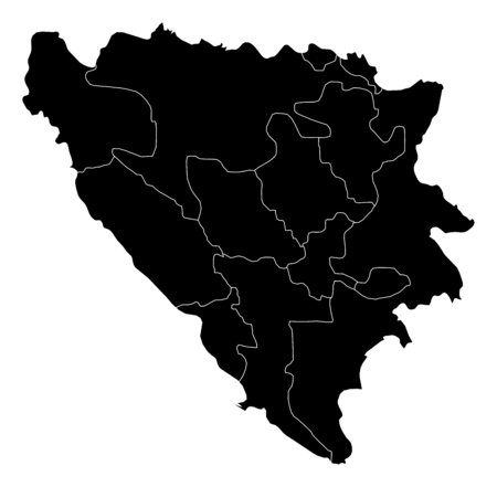 bosna and herzegovina: Map of Bosnia and Herzegovina in black with the provinces.