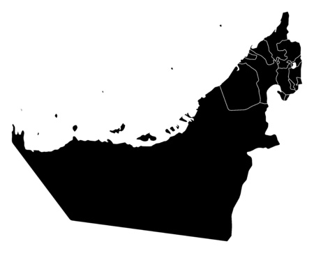 united arab emirate: Map of United Arab Emirates in black with the provinces. Illustration