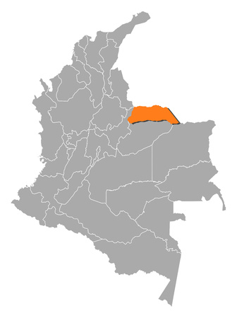 Map of Colombia with the provinces, Arauca is highlighted by orange.