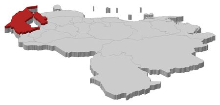 americas: Map of Venezuela as a gray piece, Zulia is highlighted in red.