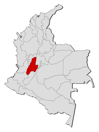 Map of Colombia with the provinces, Tolima is highlighted.