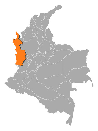 Map of Colombia with the provinces, Choco is highlighted by orange. Illustration