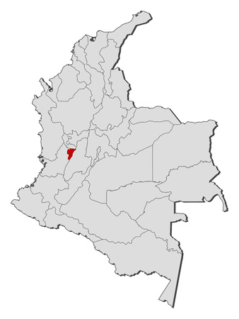 Map of Colombia with the provinces, Quindio is highlighted. Illustration