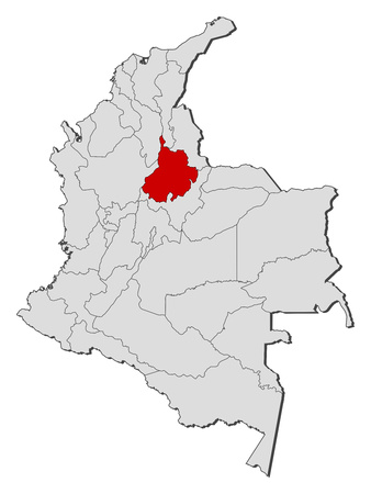Map of Colombia with the provinces, Santander is highlighted. Illustration