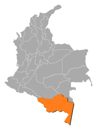 republic of colombia: Map of Colombia with the provinces, Amazonas is highlighted by orange.