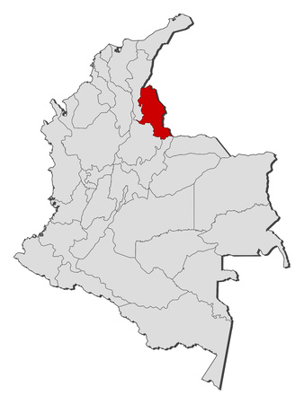 Map of Colombia with the provinces, Norte de Santander is highlighted.