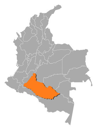 Map of Colombia with the provinces, Caqueta is highlighted by orange.