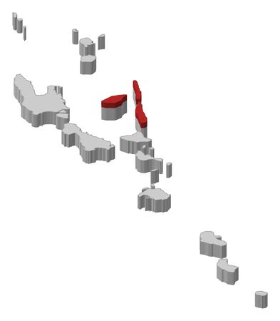 republique: Map of Vanuatu as a gray piece, Penama is highlighted in red. Illustration