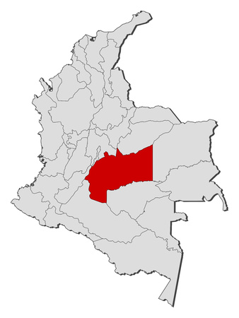 meta: Map of Colombia with the provinces, Meta is highlighted. Illustration