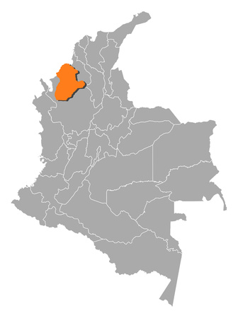 Map of Colombia with the provinces, Cordoba is highlighted by orange. Illustration