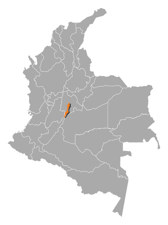 d mark: Map of Colombia with the provinces, Bogota is highlighted by orange.