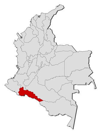 republic of colombia: Map of Colombia with the provinces, Putumayo is highlighted.