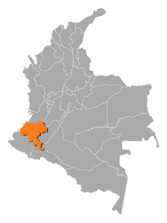 Map of Colombia with the provinces, Cauca is highlighted by orange. Illustration