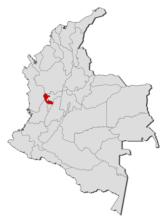 Map of Colombia with the provinces, Risaralda is highlighted.