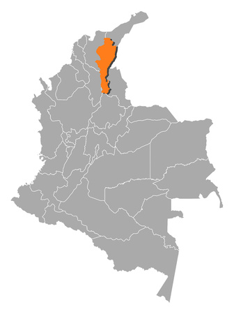Map of Colombia with the provinces, Cesar is highlighted by orange. Illustration