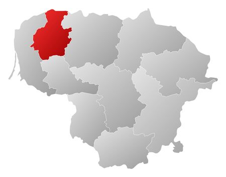 Map of Lithuania with the provinces, filled with a linear gradient, Telsiai is highlighted. Illustration