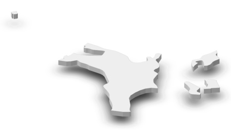 Map of Sharjah, a province of United Arab Emirates, as a gray piece with shadow.