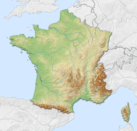 Relief map of France with shaded relief, nearby countries are in black an white.
