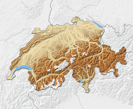Relief map of Swizerland with shaded relief, nearby countries are in black an white.