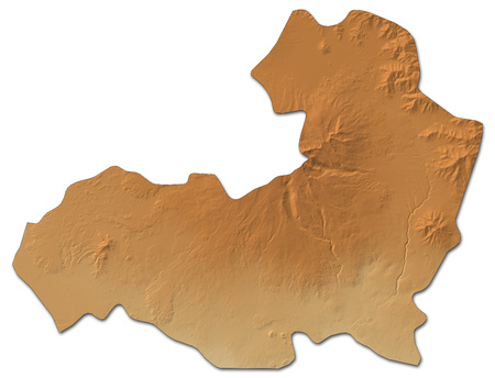 Relief map of Aragatsotn, a province of Armenia, with shaded relief. Stock Photo