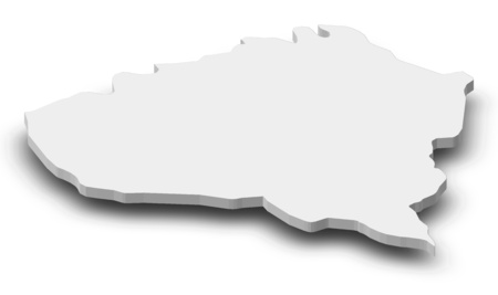 Map of Kunduz, a province of Afghanistan, as a gray piece with shadow.