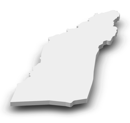 Map of Helmand, a province of Afghanistan, as a gray piece with shadow.