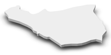 Map of Ararat, a province of Armenia, as a gray piece with shadow. Stock Photo