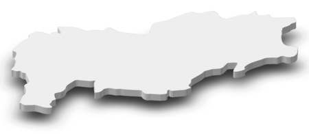 Map of Urozgan, a province of Afghanistan, as a gray piece with shadow.