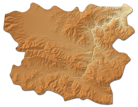 Relief map of Lori, a province of Armenia, with shaded relief.