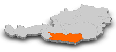 Map of Austria as a gray piece, Carinthia is highlighted in orange.