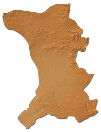 Relief map of Shirak, a province of Armenia, with shaded relief. Stock Photo
