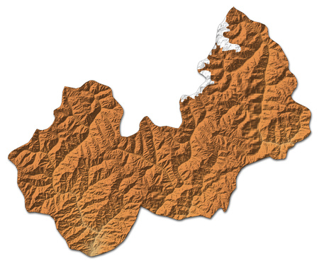 Relief map of Nuristan, a province of Afghanistan, with shaded relief. Stock Photo
