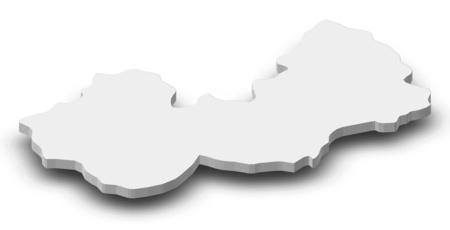 Map of Nuristan, a province of Afghanistan, as a gray piece with shadow.