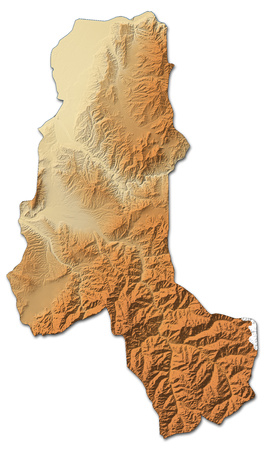 Relief map of Takhar, a province of Afghanistan, with shaded relief. Stock Photo