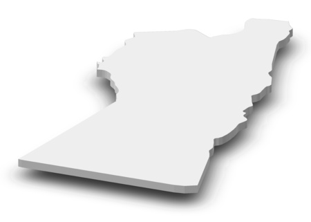 Map of Nimruz, a province of Afghanistan, as a gray piece with shadow.