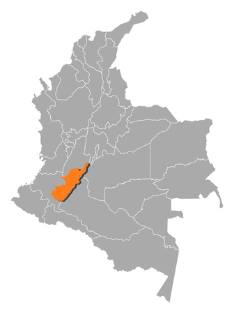 Map of Colombia with the provinces, Huila is highlighted by orange. Illustration