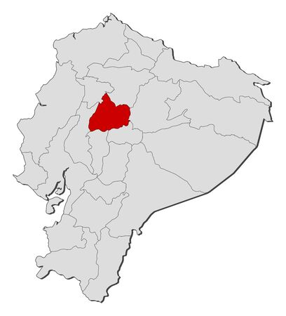 Map of Ecuador with the provinces, Cotopaxi is highlighted.